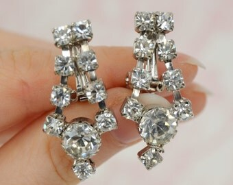 Vintage Clip-On Earrings with Dangling Clear Rhinestones