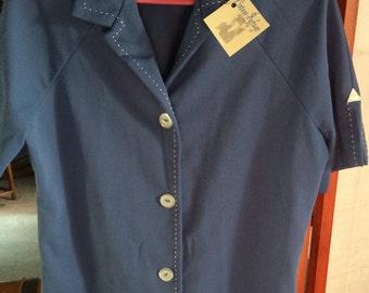 Blue doubleknit shirt 1970s