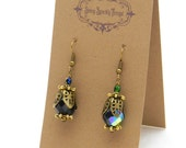 Black and Green glass bead earrings with filigree and iridescence - special holiday price!  SST3103