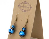Fabulous metallic blue glass earrings with filigree - special holiday price!  gifts under 10