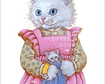 White Kitty Kitten Cat in Pink Dress with Doll Anthropomorphic Art Print Giclee Alice by Max Bailey 8x10 inch Borderless Image on Art Paper