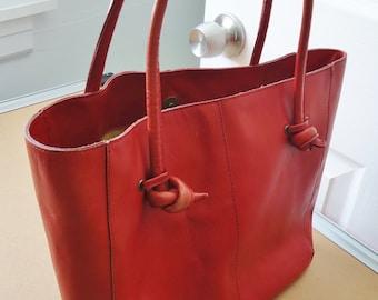 Red Leather Vintage Orvis Handbag Purse Bag