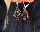 SALE - Cluster Earrings - Purple Grape Amethyst Plum Magenta - Czech Glass - Lever Back - Holiday Party - Iris Facets