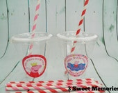 Set of 24- Peppa Pig Party Cups, Lids & Straws