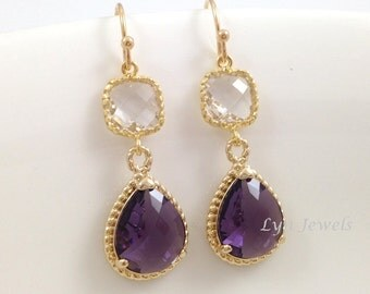 Gold Amethyst Earrings - Two Tier Glass Teardrop Purple Bridesmaids Earrings - Long Dangle Gold Rim Glass Stone Earrings