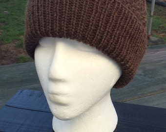 Men's Knit Hat, Men's Knit Beanie,  Wool, Teen Boy Beanie, Slouch hat, Brown