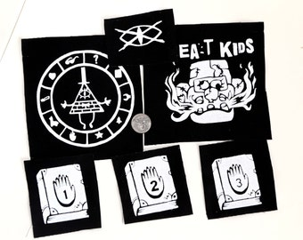Gravity Falls Punk Patches Set hand printed