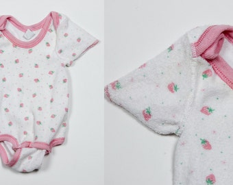 Vintage Strawberry Onesie | 1980s Velour Knit Baby Pink & White Clothes Size S 14-18 Lbs | Strawberry Shortcake Cute Girly Clothes 4DDSALE