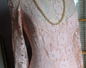 Pale pink peach vintage 1920s inspired lace and chiffon scarf bottom wedding dress