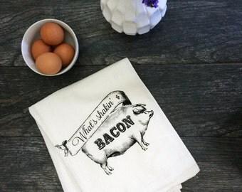 What's Shakin Bacon - Farmhouse Pig - Funny Screen Printed Cotton Kitchen Flour Sack Tea Towel - Housewarming Wedding Gift Idea