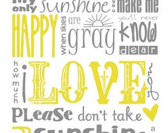You Are My Sunshine Subway Art INSTANT DOWNLOAD 8x10/16x20 Digital JPEG Set of 8 Files