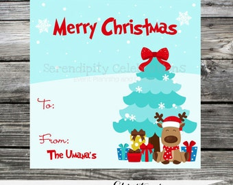 Set of 12 Personalized Favor Tags -Reindeer Christmas Tree -Thank You Tag -Gift Tag -Baby Shower -Birthday-Sticker-School treats -holiday