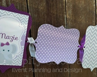 Photo Banner- Purple and Grey Elephant -1st Birthday -Personalized -Monthly Photo Banner -Made to Match -Photo Prop -Party Banner