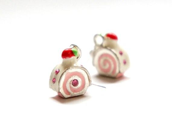 SALE Yummy Miniature Strawberry Cream Rhinestone Roll Cake Dangle Earrings - Gift Ideas - Rollcake Earrings