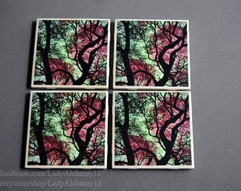 Set of Four Drink Coasters Huge Live Oak Tree Photograph Candy Colored Pink Leaves Green Sky Surreal Dark Jewel Tones Art by LadyAlchemy13