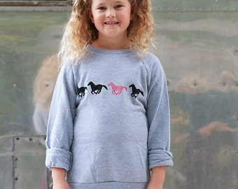 wild and free Horse Sweater, Girl's Sweater, Horsie Shirt, Gift for a Girl
