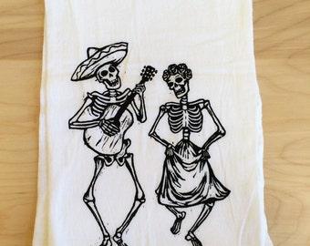 Skeleton Screen Printed Tea Towel