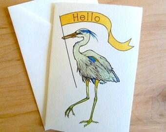 Heron Hello 4x6 Notecard