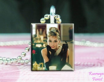 Breakfast at Tiffany's, Audrey Hepburn, Scrabble Tile Pendant, Holly Golightly, Scrabble Pendant, Scrabble Necklace, necklace pendant