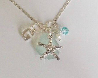 Sterling Sea Glass Necklace - Personalized Necklace Aqua Beach Glass Charm Necklace Seaglass Jewelry Charm Necklace Starfish