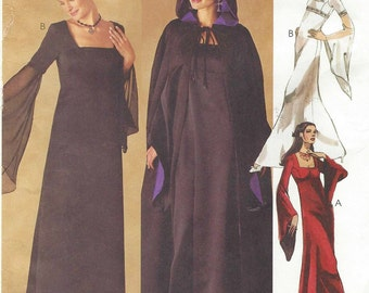 Womens Lined Gothic Midieval Dress and LIned Hooded Cape OOP McCalls Sewing Pattern 2810 Size 4 6 8 Bust 29 1/2 to 32 1/2 UnCut