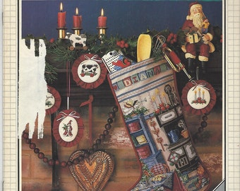 80s Cross Stitch & Country Crafts Magazine July Aug 1987 OOP Vintage Counted Cross Stitch Magazine Christmas Stocking