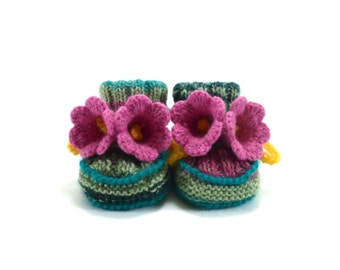 Hand Knitted Baby Booties with Crochet Bell Flowers, Baby Shower Gift, Knit Baby Shoes - Green and Pink,  0 - 6 months