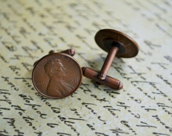 AMERICAN PENNY Cufflinks / Copper cuff links /  7th anniversary gift for him / Groomsmen Gift / PersonalizedGift / Any year / Gift boxed