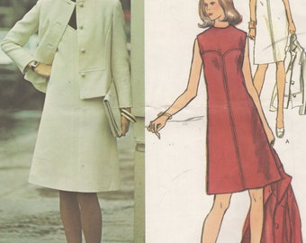 Bust 34-FACTORY FOLDED 1960's Misses' Dress and Jacket Vogue Paris Original Molyneux 2833 Size 12 Label Included