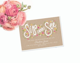 Sip and See Welcome Baby Invitation Printable by Itsy Belle