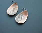 Rustic copper mandala earrings - copper earrings - dangle earrings - handmade copper jewelry