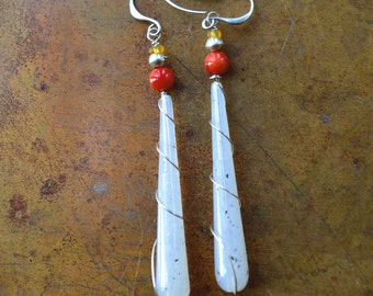 Long Dangle Earrings - Bohemian Coral and White Earrings - Hand Wrapped Silver Earrings-Ethnic Earrings