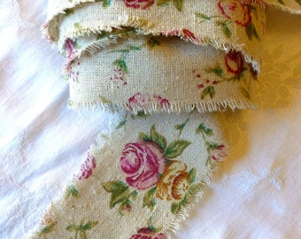 Rose linen Ribbon, Linen Trim, Old Fashioned Pink Roses, Taupe Linen, 2.5 inches wide, 2 YARDS, Romantic, Weddings, Special Occasion Ribbon