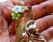 SALE-Captured Woodland Fairy Pendant (N432) - Artwork under resin - Brass framework - Swarovski Crystals - Brass chain