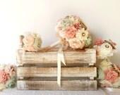 wedding fabric bouquet - Bridal bouquet, bridesmaid bouquets ,flower girl bouquet, rustic bouquet, mint peach bouquet
