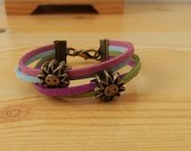 Girl bracelet, girl cuff, suede cuff, sunny girl jewel,sun girl bracelet,girl jewelry,kids jewelry,small bracelet,junior bracelet
