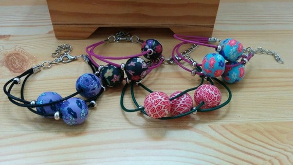 Leather bracelet, beaded cuff, beaded bracelet, leather cuff, polymer clay, flower beads, balls bracelet, ball cuff