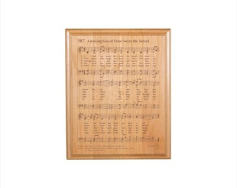 Amazing Grace Engraved Hymn Plaque - Engraved Solid Alder Wood - Christian Gift - Religious Wall Decor
