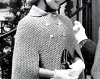 PDF Pattern Girls Cape Poncho Vintage Knitting Pattern Retro Girls Fashion Not a finished product. It is a PDF Pattern with instructions