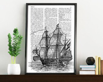 Summer Sale Book Print Old ship print Dictionary or Encyclopedia Page Book print Vintage Ship Print on Vintage Dictionary Book art SEA011