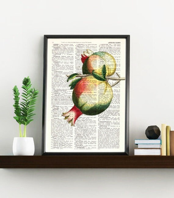 Summer Sale Pomegranate Wall decor giclee art print Wall Pomegranate Fruit Printed on Vintage Dictionary page, pomegranate BFL125