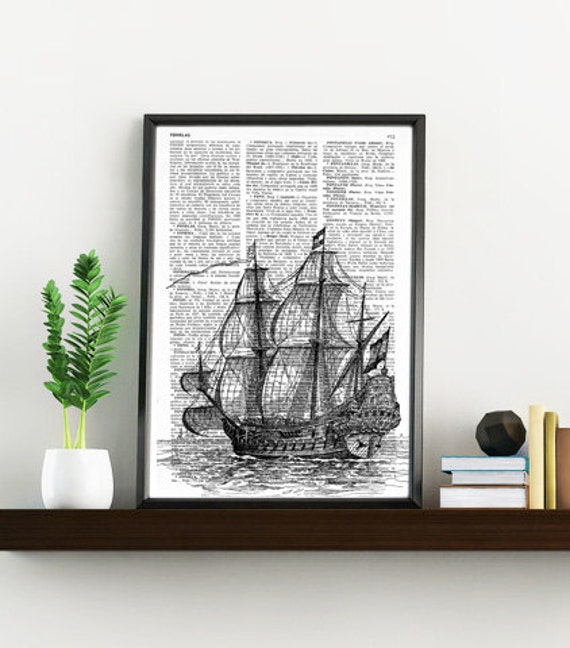 Book Print Old ship print Dictionary or Encyclopedia Page Print- Book print Vintage Ship Print on Vintage Dictionary Book art BPSL011