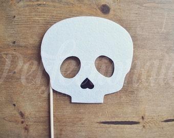 Felt Skull Photo Prop on a Stick | Halloween Mask on a Stick | Skeleton Prop | Halloween Photo Booth Props | Halloween Wedding Props