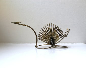 Vintage Wire Coil Animal Letter Holder Spiral Desk Organizer 1960's