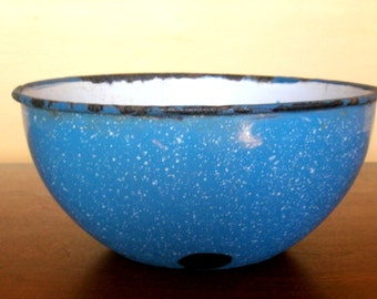 Blue Speckled Enamelware Bowl