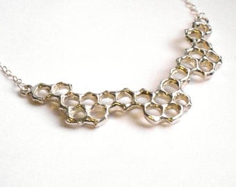Honeycomb Mini Collar Necklace - Sterling Silver