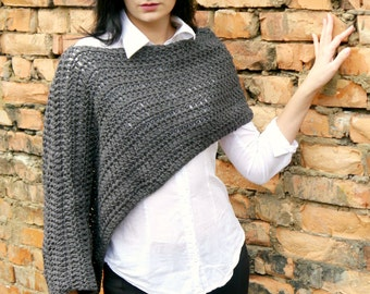 Easy Crochet Pattern, Crochet Easy PDF Pattern, Crochet Poncho Pattern, Crochet Pattern Shrug, instant download