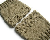Hand Knitted Openwork Boot Cuffs - Boot Toppers, Leg Warmers - 100% Natural Wool -Khaki