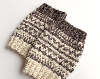 Reversible Hand Knitted Patterned Fair Isle Boot Cuffs - Boot Toppers, Leg Warmers - Natural Organic Undyed Wool -Two Ways to Use