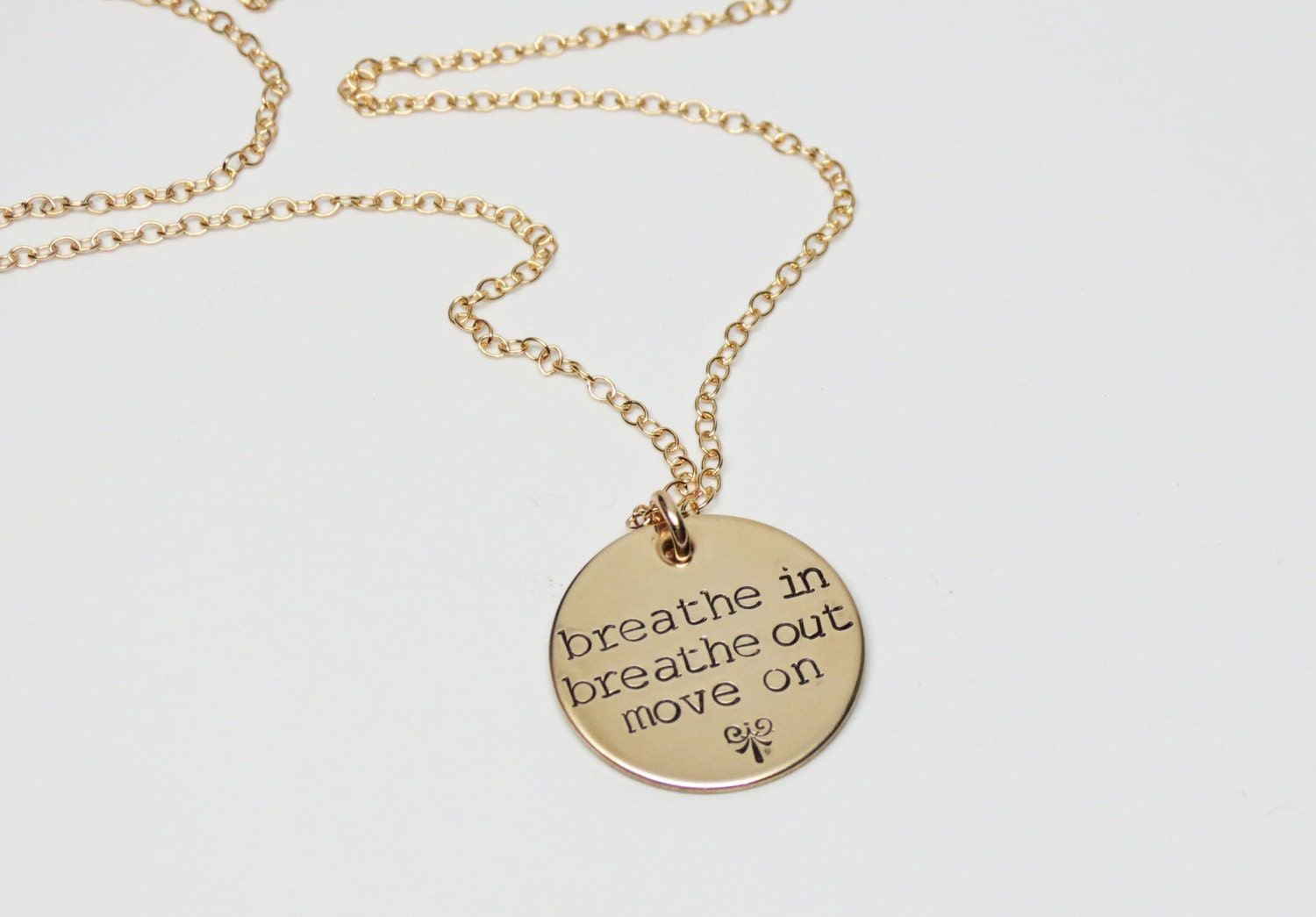 breathe in breathe out move on necklace gold jewelry